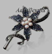 Victorian 1.68ct Rose Cut Diamond Pearl Designer Halloween Brooch Vintage - $656.35