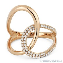 0.25 ct Round Cut Diamond Right-Hand Overlap Loop Fashion Ring in 14k Ro... - $609.00
