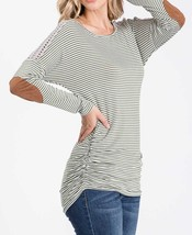 Olive Striped Top, Green Pinstripe Shirt, Long Sleeve Striped Top, Lace Details image 4