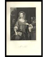 Mrs. Nott 1851 Antique Art Print Charles II Court Beauties Engraving - $24.99