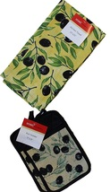 Tapestry Olives Design Kitchen Set 4-pc 2 Pot Holders 2 Towels Olive Bla... - $11.99