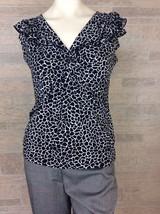 Suzie in the CIty Black White Giraffe Print Career Top Blouse Shirt Size... - $10.22