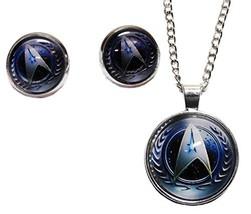 Star Trek TNG Starfleet Command Glass Domed NECKLACE w/ Matching Post EA... - $28.36