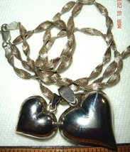 "VTG 925 STERLING SILVER PUFFY 2 HEART PENDANT 19"" NECKLACE EARRING SINGA... - $267.99"