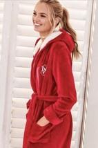 Victoria's Secret Sz M VS Red Hooded Ultra Soft Fleece Womens Robe w/Poc... - $31.35