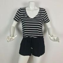 Anthropologie Romper Black White Stripes Cotton Size XS - $39.99