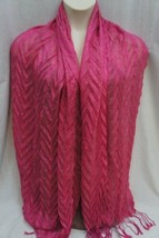 Collection Eighteen Shawl One Size Pink Gold Syrah Fringe Long Wrap 26x76 - $19.71