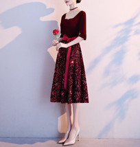 Burgundy Wine Red Half Sleeve Velvet Midi Dress High Waist Bridesmaid Midi Dress image 5