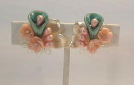 Vintage Screw On Earrings Pearlescent Pastel Green Pink White Floral Clu... - $19.75