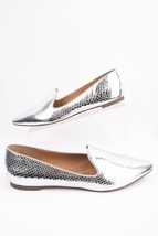 Franco Sarto Womens Sadia2 Flats Shoes Snakeskin Sz 9 Eu 39 Silver Slip On New - $59.39