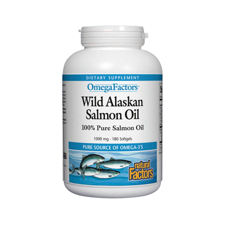 Natural Factors OmegaFactors Wild Alaskan Salmon Oil, 180 Soft Gels - $18.17