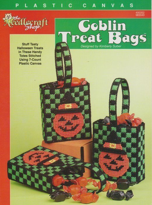 Primary image for Goblin Treat Bags Plastic Canvas Pumpkin Halloween Handy Totes Kids Candy OOP