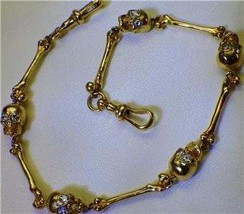 Victorian 14k gold&1.4ct Diamonds Memento Mori Skulls pocket watch chain - $12,600.00