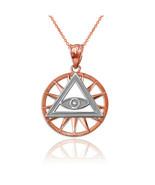 14K Two-Tone Rose Gold Eye of Providence Illuminati Charm Necklace - $104.99+