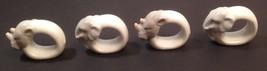 (4) Porcelain Rhinoceros Elephants Safari Kitchen White Napkin Holders - $20.00