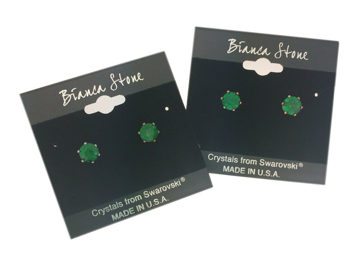 Bianca Stone May Birthstone Stud Earrings With Crystals Made By Swarovski