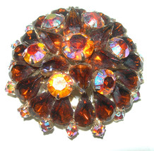 VINTAGE LAYERED STACKED BROWN RHINESTONE BROOCH PIN - $65.00