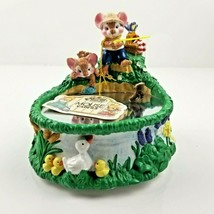 San Francisco Music Box Co Mouse Capers Fishing Pond What A Beautiful Mo... - $12.99