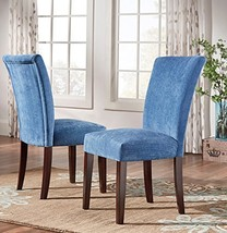 ModHaus Modern Blue Chenille Fabric Parsons Style Dining Side Chairs | W... - $194.76