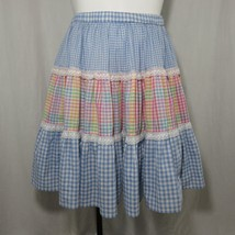 Vtg 70s Blue Rainbow Gingham Checked Full Circle Skirt S Lace Square Dance - $49.45