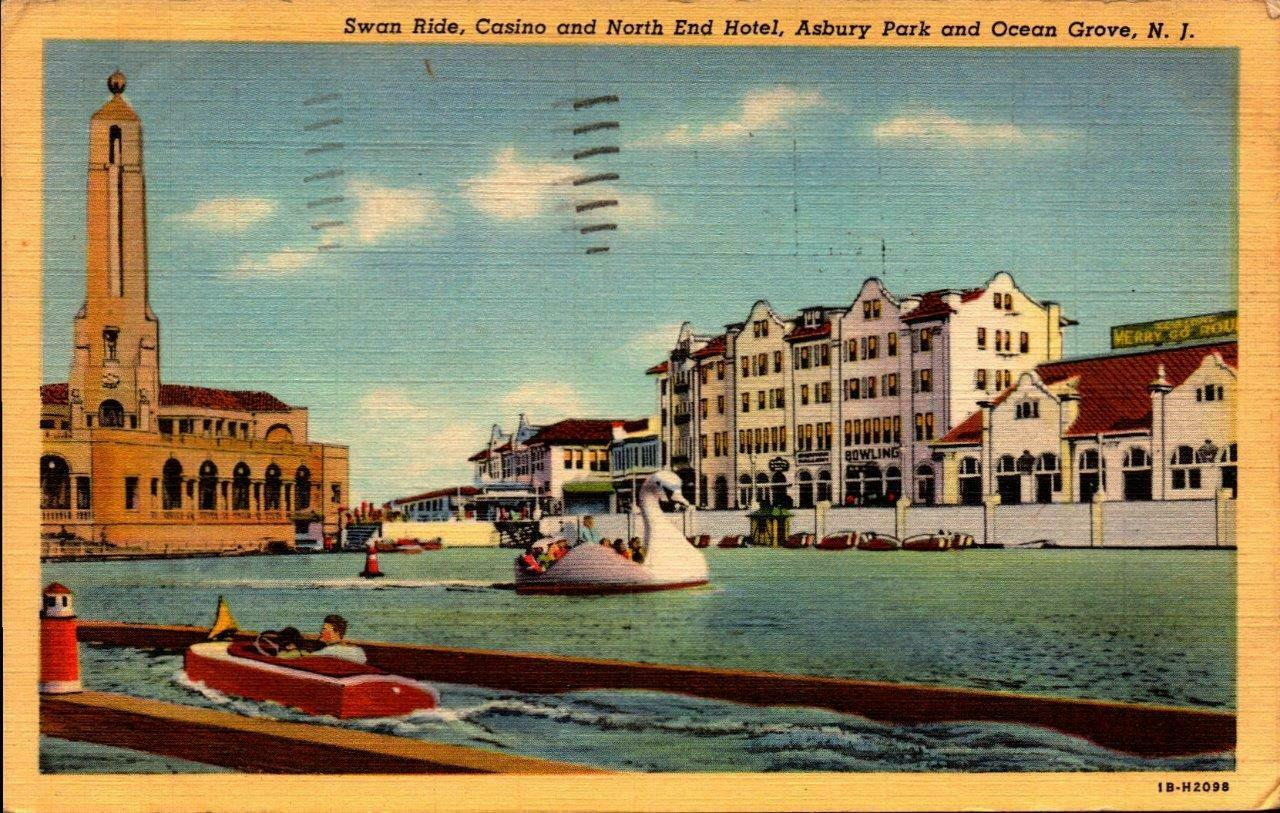 Primary image for LINEN POSTCARD-SWAN RIDE,CASINO & NORTH END HOTEL,ASBURY PARK & OCEAN GROVE BK21
