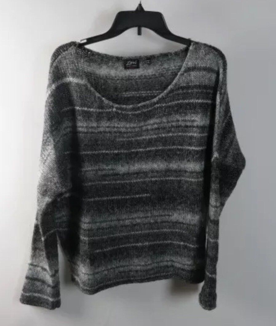 Zen Charcoal Heather Gray Striped Long Sleeve Knit Boat Neck Sweater M