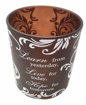 """Beautiful Frosted Glass Inspirational Learn Live Hope 3"""" Diameter Candle Holder  - $13.99"""