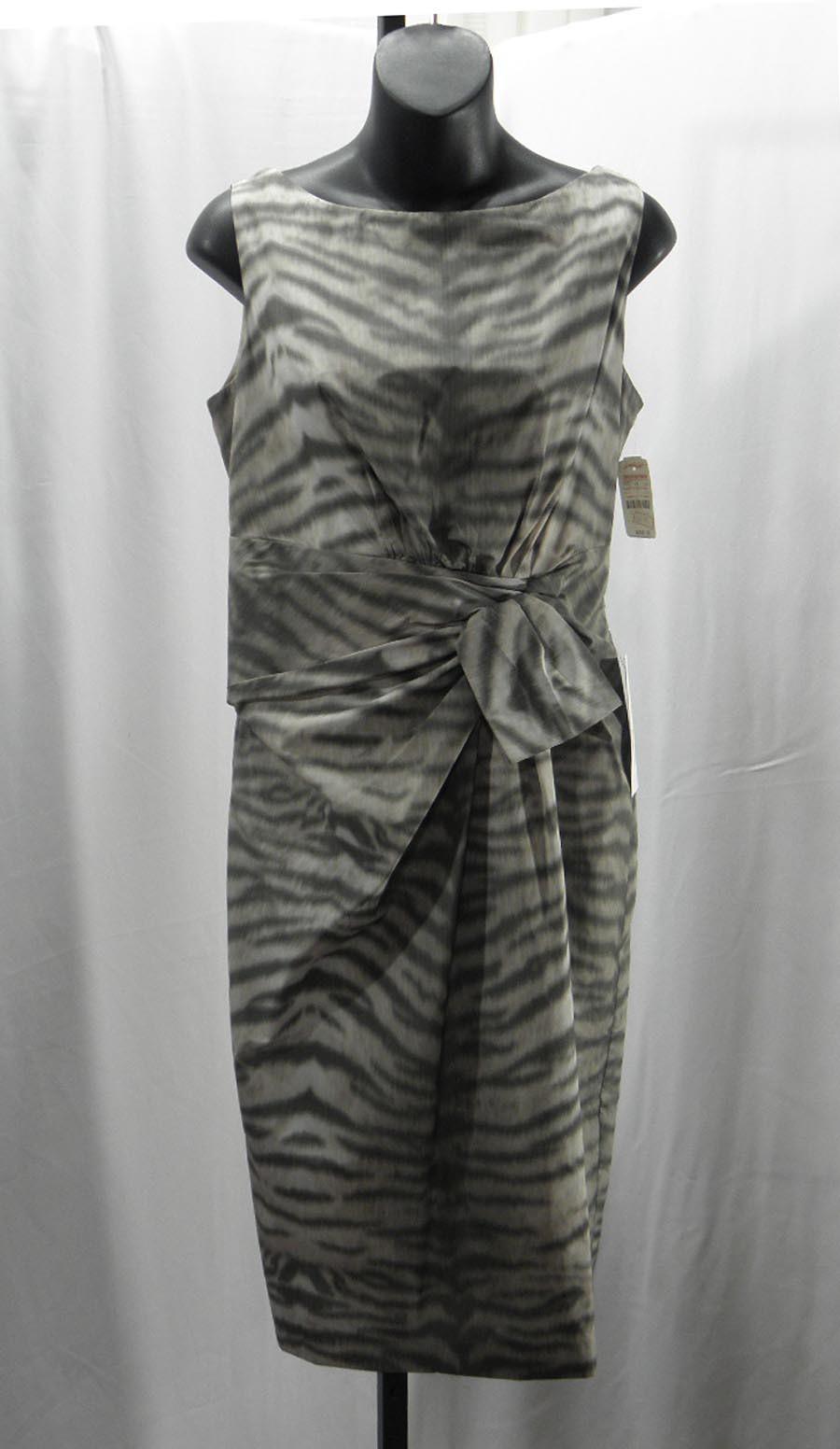 New Anne Klein Multi Color Animal Print Polyester Sleeveless Sheath Dress Sz: 8