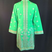 Vtg Green Alfred Shaheen Exotic Mod Tunic Dress Signed Print MCM Polypop S/M image 7
