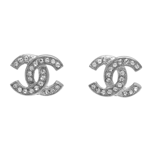 Authentic Chanel 2018 Classic CC Logo Crystal Strass SILVER Stud Earrings