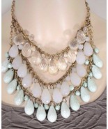 Necklace drop chandelier statement three strand bling aqua opaque white ... - $3.95