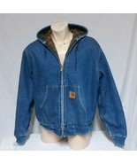 VTG Carhartt Denim Blanket Lined Jean Jacket Hooded Coat Work Outdoors S... - $89.99