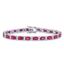 """PalmBeach Jewelry 11.39 TCW Rose CZ Platinum-Plated Tennis Bracelet 7.5"""" - $55.99"""