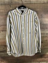 Tommy Hilfiger Mens Shirt Size Medium M Yellow Strip Button Front Long S... - $25.08
