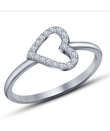 Heart Shape Wedding Ring For Her 14k White Gold Plated 925 Silver Round ... - $56.99