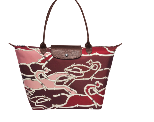 Longchamp Le Pliage Cavalcade Equestrian Burgundy Tote Bag Limited Edition