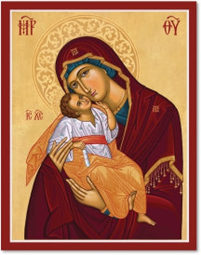 "Primary image for Cretan-Style Virgin of Tenderness Icon - 8"" x 10"" Print With Lumina Gold"