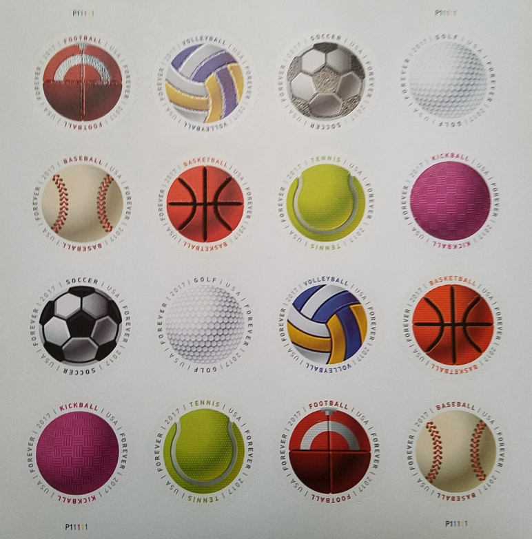 Have a Ball! (USPS) STAMP SHEET 16 Circular  FOREVER STAMPS, 8 designs