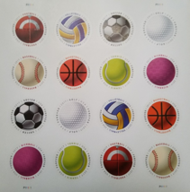 Have a Ball! (USPS) STAMP SHEET 16 Circular  FOREVER STAMPS, 8 designs - $8.50