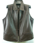 Morgan Taylor Studio Women's Sz 12 Brown 100% Leather Vest Zipper Collar Pockets - $34.60