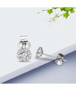 14k WhiteGold 3/8 CT LabGrown Diamond Earing Cluster Stud IGI quality fo... - $301.23