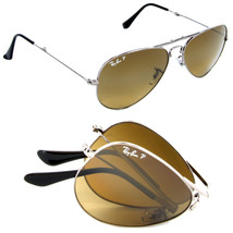 New Ray Ban Folding Aviator RB3479 004/M2 Gunmetal w/Brown Polarized 58mm - $283.50