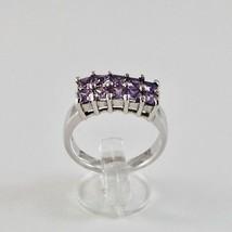Ring aus Silber 925 Rhodium Mit Quadrat mit Kristallen Violet Schnitt Qu... - $43.49