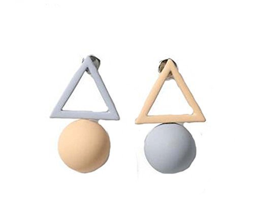 European Style Simple Triangles Temperament Earrings Asymmetric Earrings,Gray