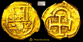 """Spain 4 Escudos 1632 """"Dated"""" Gold Doubloon Ngc 53 Au Cob Treasure Coin Seville - $5,950.00"""