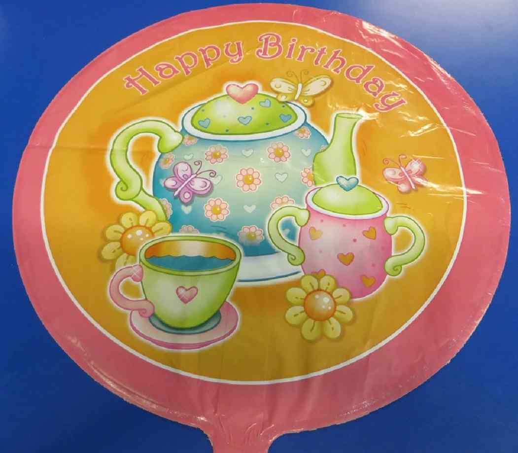 "Primary image for Tea for You! Pink Orange Kids Birthday Party Decoration Foil 18"" Mylar Balloon"