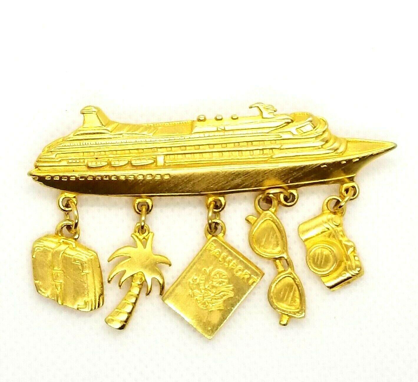 Vintage JJ Jonette Jewelry Brooch Cruise Ship Dangle Passport Camera Gold Tone  - $12.87