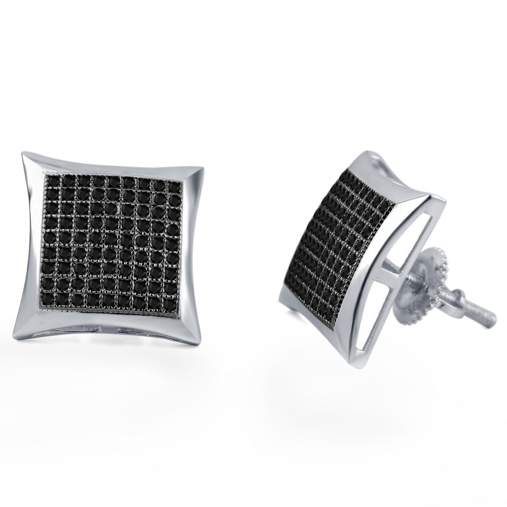 dd75b8675 Black Real Diamond White Gold Fn 925 Silver Kite Shape Stud Earrings For  Women's