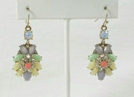 Gold Tone Rhinestone Pastel Colors Dangling Earrings - $9.95