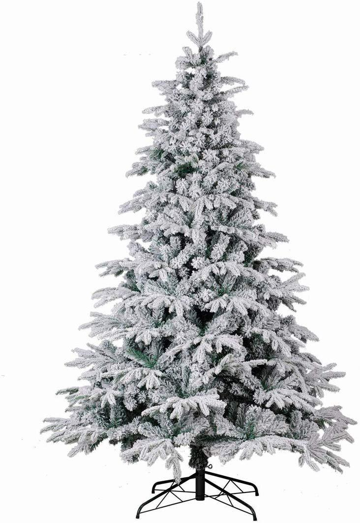 Primary image for Christmas Tree PE PVC Mixed 1650 Tip 8FT Premium Hinged Deluxe Fir Flocked Snow